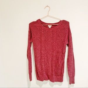 Mossimo Dark Red Cable Knit Sweater